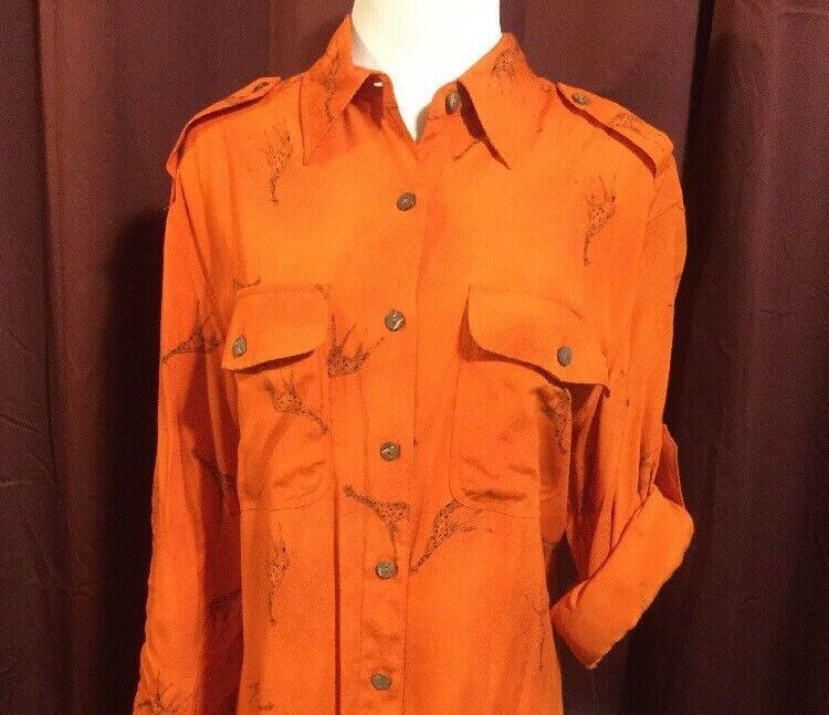 Jones New York Shirt Top NWT Sz M orange Giraffe Print Button Front Longsleeve