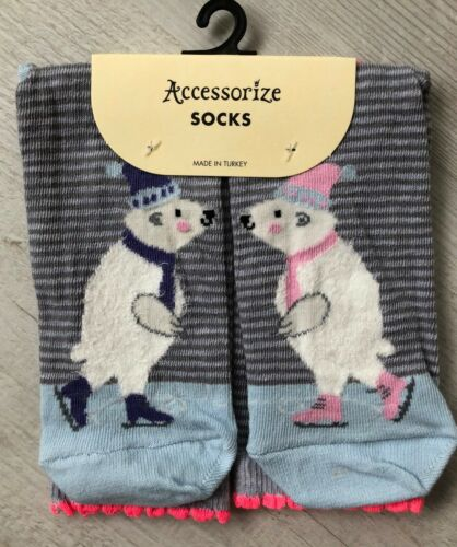 Ladies//Girls Blue Grey Striped Christmas Polar Bears Cotton Ankle Socks