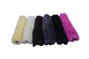 GENUINE-Sheepskin-Horse-Noseband-Cover-Black-White-Grey-Pink-100-Sheepskin
