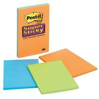 Post-it Super Sticky Notes, Lined 4x6 In, Assorted Colors 3 Ea