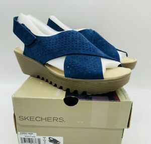 Skechers-Women-039-s-Parallel-Plot-Peep-Toe-Slingback-Wedge-Sandals-Navy