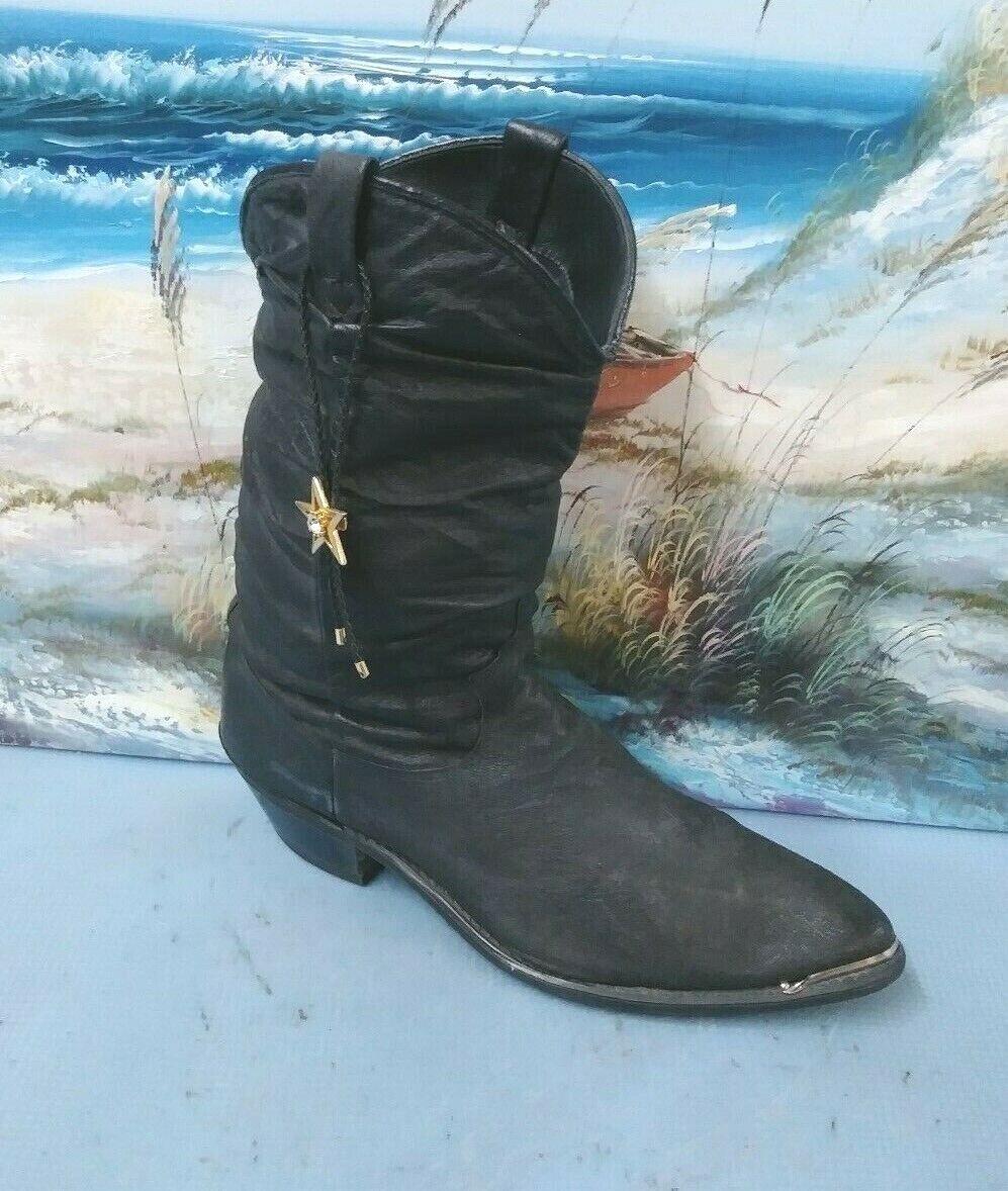 Vintage Femme Cowboy bottes noires Taille 8 M 17310