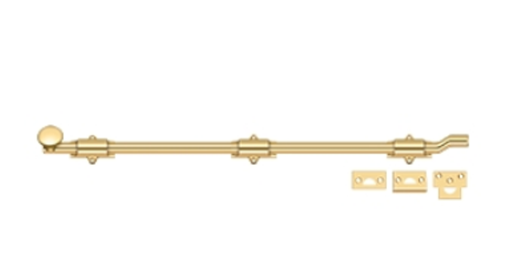 FPL Off Set Surface Bolt 26 Inch Heavy Duty Solid Brass in 9 Finishes By FPL