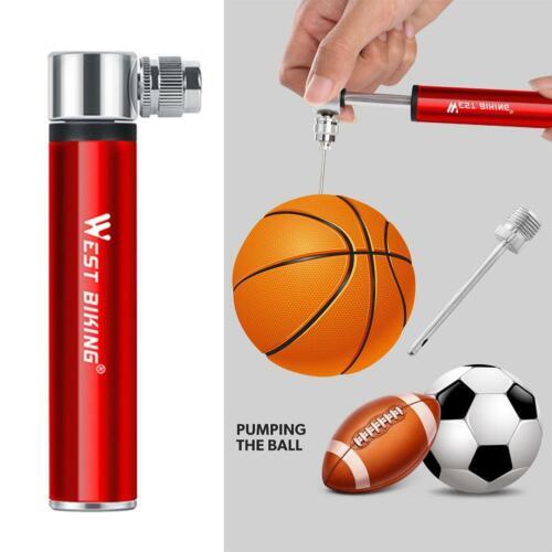 WEST BIKING Mini Air Pump Aluminum Alloy Bicycle Tire Basketball Inflator Tools