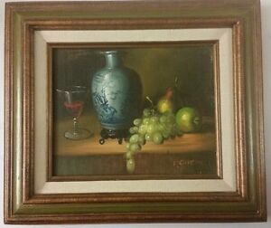 1900s-Original-Oil-Painting-Still-Life-Canvas-signed-P-Chiron-Realism-US