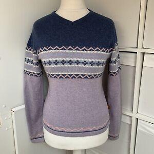 Fat Face Purple & Blue Fairisle Jumper Size 10 80% Wool Nordic Knitted