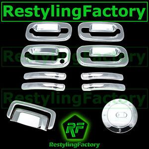 Chevy-Suburban-Chrome-4-Door-handle-NO-PSG-Keyhole-Liftgate-Gas-Fuel-Cover-COMBO