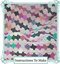 Vintage Crochet pattern-how disponer de un fácil afgano, lanzar, de izquierda en Yarns