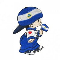 Nicaragua Little Boy Country Flag Iron-on Patch Crest Badge Size:3 X 2 Inch..new