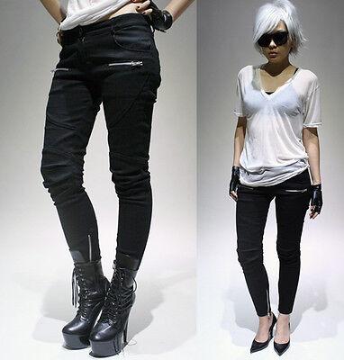 RTBU Punk Rocker Biker Armor Insert Cigarette Skinny Ankle Stretch Demin Jeans