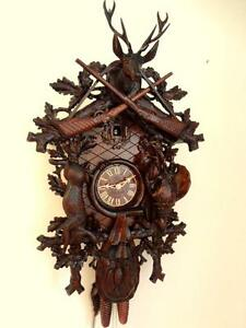 Cuckoo Clock Black Forest 8 Day German Wood Hunter Carved