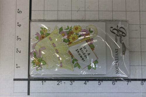 8 CARDS 8 ENVELOPES BRIDAL SHOWER FLOWERS UMBRELLA INVITATIONS DATE TIME PLACE
