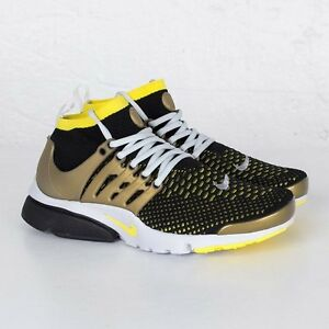 Nike Air Presto Flyknit Ultra Black Yellow Metallic Gold Grey 835570-007