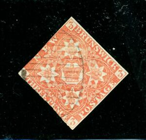 New-Brunswick-1-1851-Pence-3d-red-and-grid-cancel-SCARCE-STAMP-Catalog-550