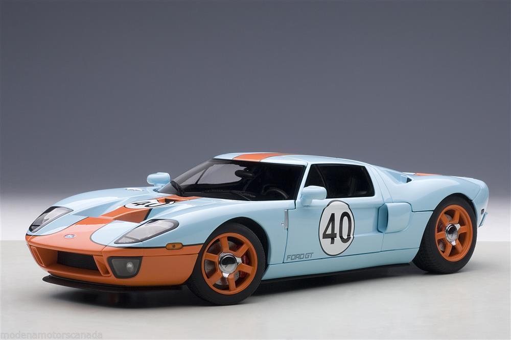 1 18 Autoart 80513 Ford GT LM 2004 Gulf Livery  40 + Gratuit vitrine
