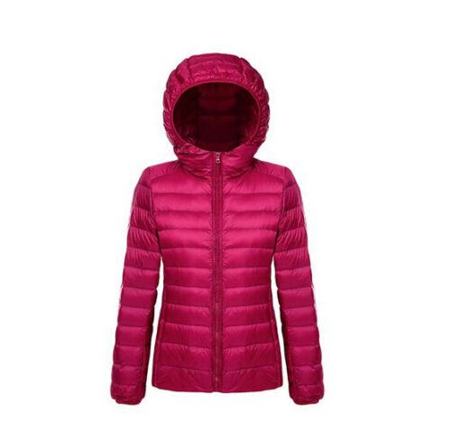 Fashion Womens Ultralight Hooded Down Parka Jacket Coat Zipper Slim Style K050