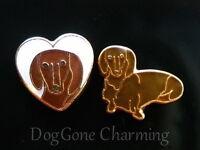 Dachshund Doxie Dog White Heart Set Of 2 Brn Floating Locket Charms