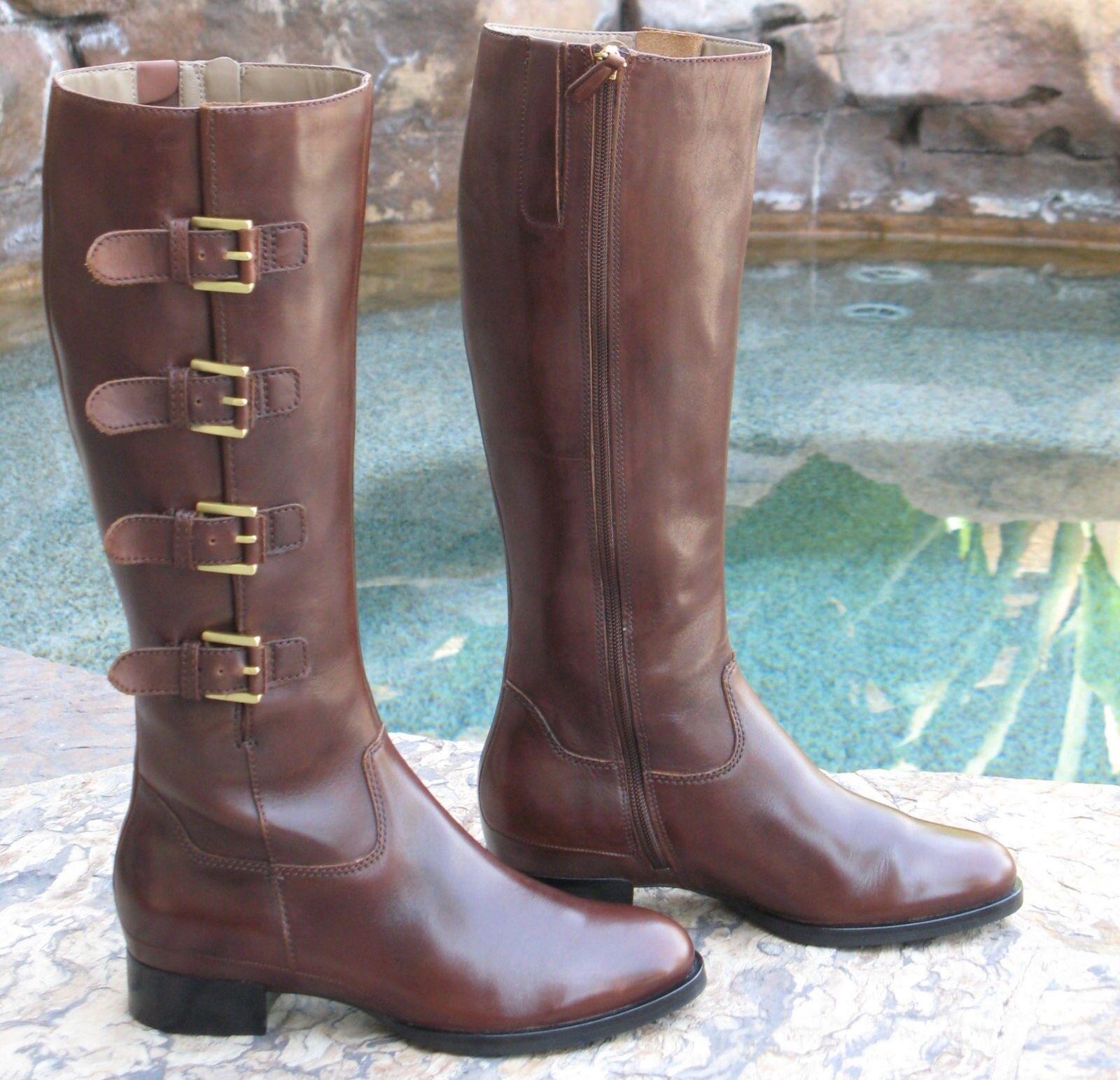 ECCO Sullivan Buckle Riding Boots EUR 37 USA Wmn Sz 6 - 6.5 Knee High  260