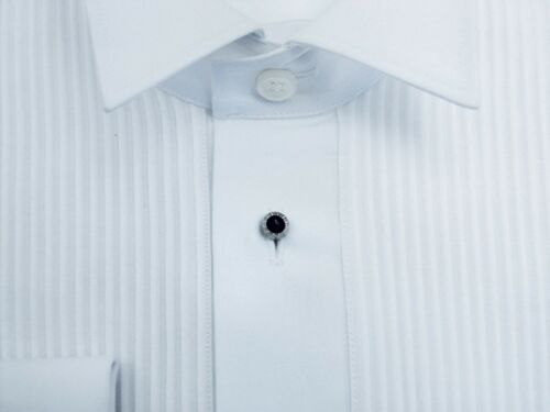 "100/% Cotton White Swiss Pleat Stud Front  Reg Collar Dress Shirt 14.5/"" /& 23/"""