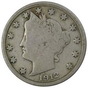 1912-D-Liberty-Head-V-Nickel-5-Cent-Piece-VG-Very-Good-5c-US-Coin-Collectible