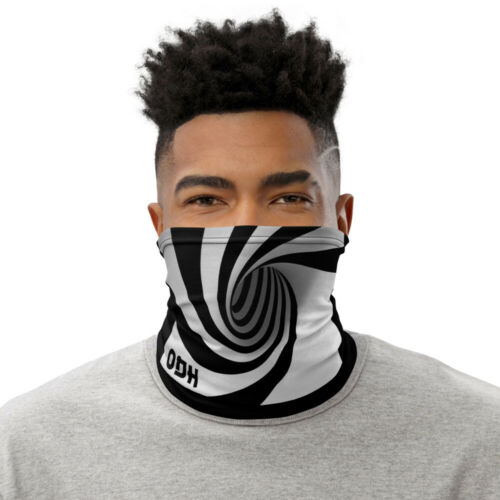 3D Optical Illusion Neck Gaiter Face Cover Bandana Black White Hypnotic spiral