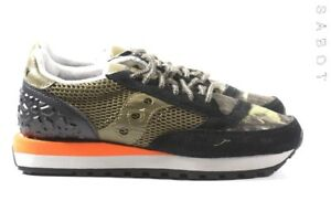 Saucony scarpa donna sneakers limited edition jazz nera tela e pelle khaki