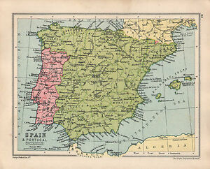 Murcia Map Of Spain.Details About 1934 Map Spain Portugal Andalucia Murcia Castile Balearic Islands Majorca