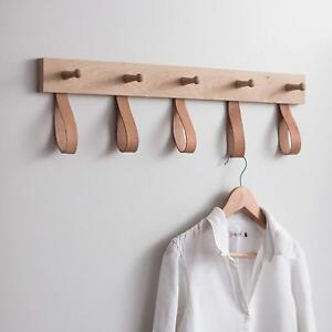 Wooden-5-PEG-RAIL-For-Hallway-Bedroom-Wall-Mounted-Rail-Hanger-For-Coats-Hook-UK