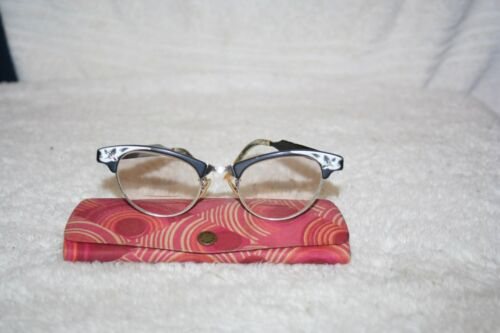 Vintage Art Craft Cat Eye Glass Frames Black Aluminum Metal Eyeglasses Flowers