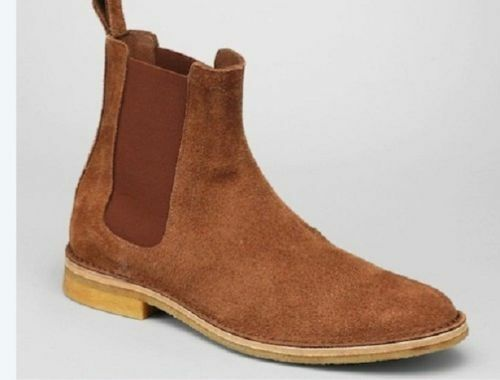Mens Handmade Boots Tan Chelsea Suede Leather Formal Wear Casual shoes US 6 to 16
