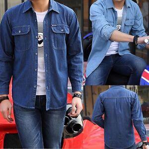63a69e3037a Details about Men s Classic Long Sleeve Button Up Casual Blue Jeans Shirt  Denim Dress New