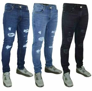 Crosshatch-Hombre-Ripped-Skinny-Jeans-Slim-Fit-Pantalones-Denim-Pantalones-de-vestir-Super-Stretch