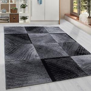 Moderner-Kurzflor-Teppich-Karo-Baumrinde-Wohnzimmer-Grau-Schwarz-Meliert