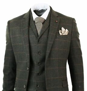 mens herringbone tweed olive green check 3 piece wool suit. Black Bedroom Furniture Sets. Home Design Ideas