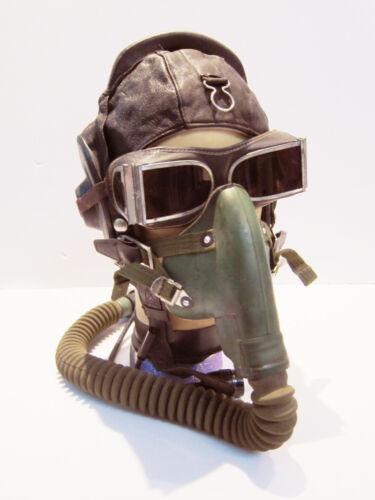 Flight Helmet winter Fighter Pilot Flight Leather Helmet Oxygen Mask Goggles 022