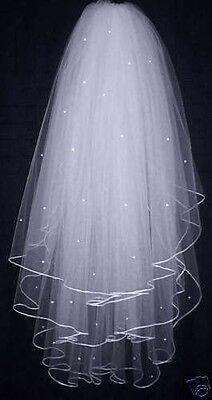 3T White/ Ivory Pearl Wedding Bridal Veil With Comb