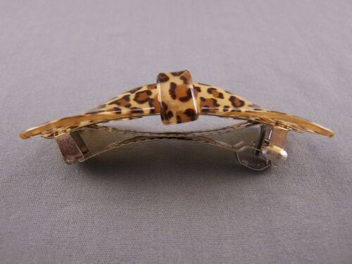 """Brown Tan Leopard cheetah print curved barrette hair clip accessory 3.25/"""" long"""