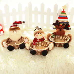 Christmas-Candy-Storage-Basket-Holder-Box-Santa-Claus-Party-Home-Decor-Gifts-AU