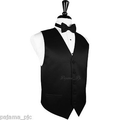 Men's Vest Waistcoat and Butterfly Bow Tie Suit or Tuxedo Wedding Party Black