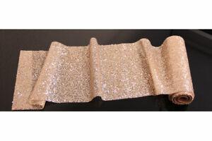 Glitzernder Tischläufer rose-gold, Tischband, Tischdeko, Gold, Länge ca. 3 Meter