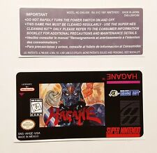 REPLACEMENT SNES CARTRIDGE STICKER LABELS FOR: HAGANE