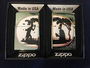 2-x-ZIPPO-Lighter-Feuerzeug-Modell-Combo-Partner-Lighter-Made-in-USA