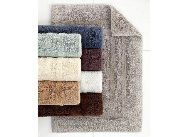 New Hotel Collection Reversible Bath Rug 18 X 25 Carbon 100 Cotton 40
