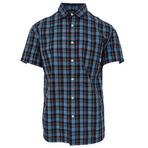 Quik-Silver-Men-039-s-Blue-Everyday-Check-S-S-Woven-Shirt-Retail-44