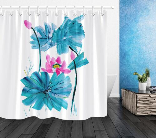 Shower Curtain Liner Ink Painting Of Lotus Waterproof Fabric 12 Hooks /& Bath Mat