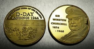 24ct Gold WINSTON CHURCHILL Coin WW2 D-DAY LANDINGS Coin Hunt Commemorative NEW