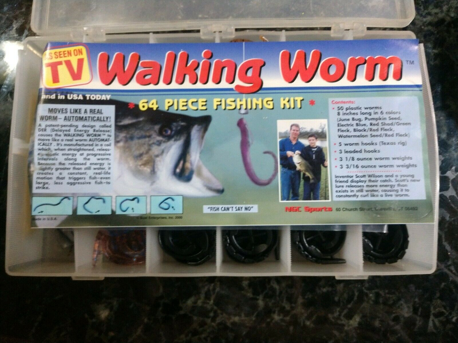 Walking Worm Fishing Lures Set 64 Piece Kit Complete.  As Seen On TV
