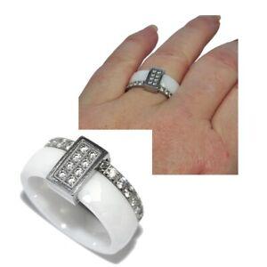 Bague-anneau-en-acier-inoxydable-argente-ceramique-blanc-et-zirconium-T-54-bijou