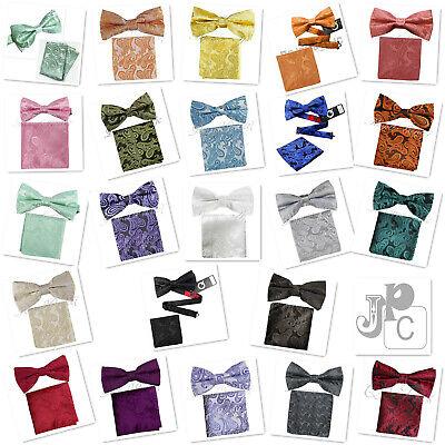 New Paisley light Peach Men/'s Cummerbund And Bow tie /& Pocket Square Hanky Set