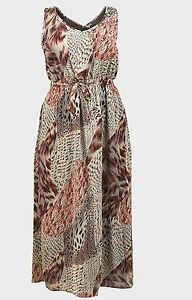 NEW-Tommy-amp-Kate-Beige-Red-Animal-Print-Sleeveless-Summer-Maxi-Dress-Size-12-22